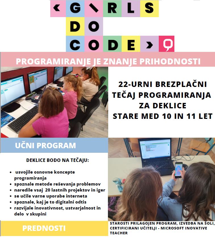 GIRLS DO CODE – brezplačni tečaj programiranja za deklice